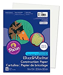 Pacon Sunworks Construction Paper, 9-inches By 12-inches, 50-count, White (9203)