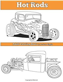 hot rods adult coloring book
