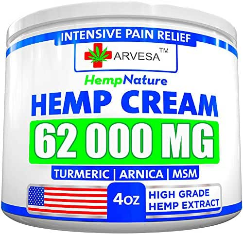 Hemp Pain Relief Cream - 62 000 MG - Made in USA - 4OZ - Relieves Muscle, Joint Pain - Lower Back Pain - Inflammation - Hemp Oil Extract with MSM - EMU Oil - Arnica - Turmeric