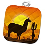 3dRose Sven Herkenrath Animal - Lama Alpaca in Mexican Nature with Sunset in the Background - 8x8 Potholder (phl_280322_1)