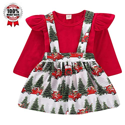 Toddler Baby Girl Infant Christmas Outfit Plain T Shirts + Xmas Tree Overall Skirt Set (3-4T, Red 110) -