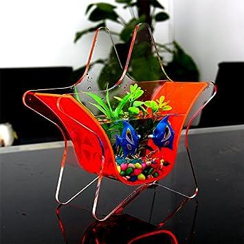 Acrílico resistente al trasera peces pequeños tanque acuario plantas cuenco para escritorio dormitorio habitación dormitorio decoración: Amazon.es: ...