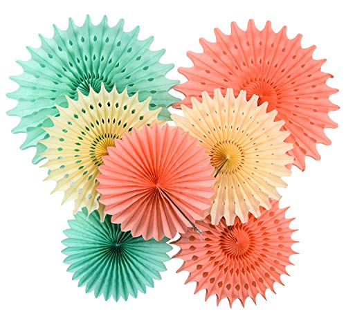 Party Wall Decor - Furuix Mint Baby Shower Decorations Honeycomb Tissue Paper Fan Cream Mint Green Peach for Birthday Decor Wedding Decor Wall Hanging Decoration Mint Green Decor Tissue Pompom Flower Hanging Paper Fans