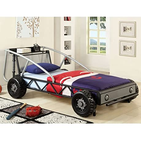 Metal Finish Black Racing Car Design Youth Bed Frame