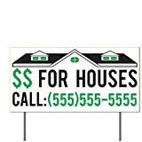 VictoryStore Yard Sign Outdoor Lawn Decorations: We Buy Houses Yard Sign Houses For Cash Signs Custom Buy Houses Lawn Signs (50, 2 Color)