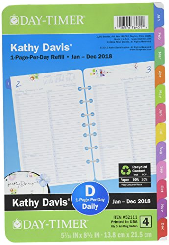 Day-Timer One Page Per Day Planner Refill, January 2018 - December 2018, 5-1/2