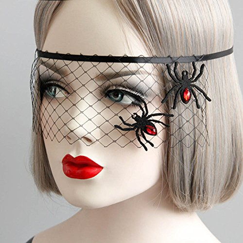Loving Home Halloween Party Cosplay Costume Party Supplies Net Yarn Spider Princess Mask Cover Party Supplies (Minecraft Spider Costume)