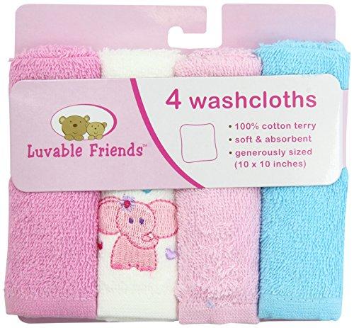 Luvable Friends 4 Pack Super-Soft Washcloths, Pink Elephant