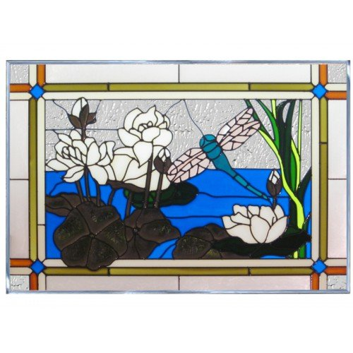 Dragonfly Waterlilies Blue Yellow Art Glass Panel Wall Window Hanging Suncatcher 14 x - Glass Lilies Stained Water