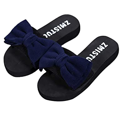 40784cc28f05 Kasien 2019 Women Bow Summer Sandals Slipper Indoor Outdoor Flip-Flops  Beach Shoes (Blue