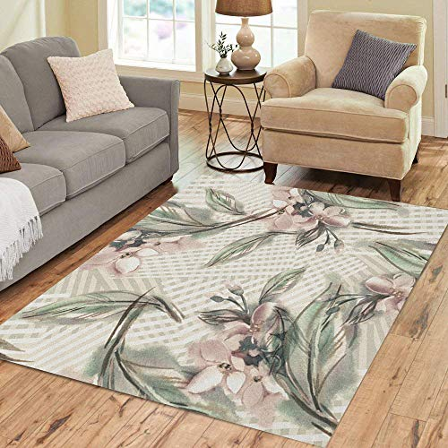 Semtomn Area Rug 5' X 7' Colorful Abstract Jasmine Watercolor Green Blooming Color Drawing Drawn Home Decor Collection Floor Rugs Carpet for Living Room Bedroom Dining Room - Garden Scroll Floral Rug