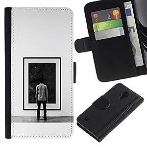 LECELL--Cuero de la tarjeta la carpeta del tirón Smartphone Slots Protección Holder For Samsung Galaxy S4 IV I9500 -- Pintura Espacio Profundo --