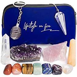 Chakra Crystals and Healing Stones Set - Includes Amethyst and Rose Quartz Crystals and Gemstones - Enhance Your Overall Emotional and Physical Well Being - Great for Spiritual, Meditation, Reiki