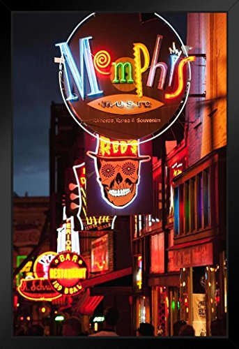 Illuminated Bar Signs on Beale Street Memphis Photo Art Print Framed Poster 14x20 inch