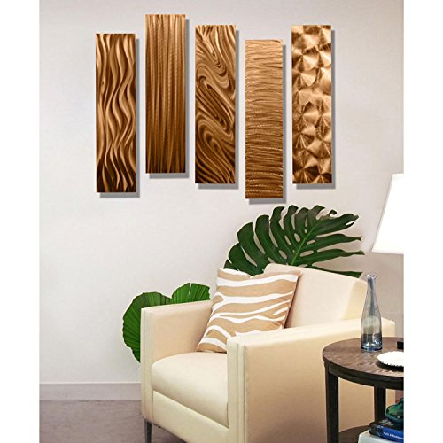 Copper Metal Wall Art Decor, 5 Piece Set of Modern Wall Art