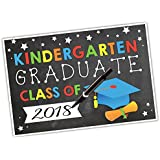 Last Day Of Kindergarten Sign Chalkboard Announcement Poster For Kids, Colorful Compact 12x18'', Customizable For Girls & Boys, School, Parties, Graduation, Photo Booth Props and More