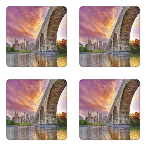 - Ambesonne Minnesota Coaster Set of 4, Stained Abutments of Historical Stone Arch Bridge Crossing the Mississippi River, Square Hardboard Gloss Coasters for Drinks, Multicolor
