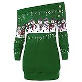 SMALLE ◕‿◕ Clearance,Sweatshirt for Women, Merry Christmas Plus Size Pullover Deer Elk Printed Skew Neck Sweatshirt