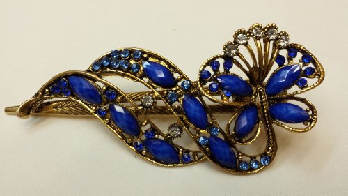 Hair Sticks Pins Jewelry (Gorgeous Vintage Jewelry Crystal Butterfly Fashion Hair Clips Hair Pins Hair Sticks - Large Size - Sapphire Blue Color -For Hair Beauty Tools)