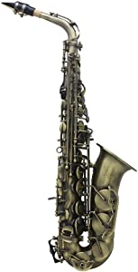 ammoon Alto Saxophone Antique Finish Bend Eb E-flatSax Shell Key Carve Pattern with Case Cleaning Cloth Straps Brush