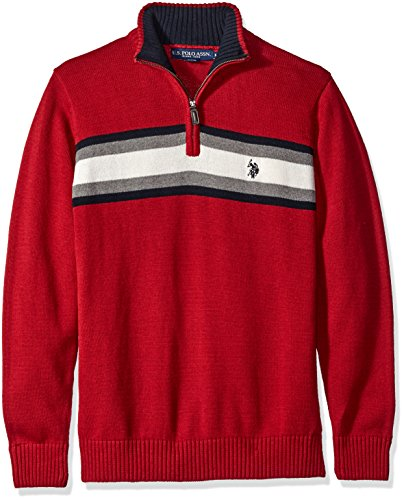 s Tri-Color Chest Stripe 1/4 Zip Sweater, Red, Medium (1/4 Zip Stripe Sweater)