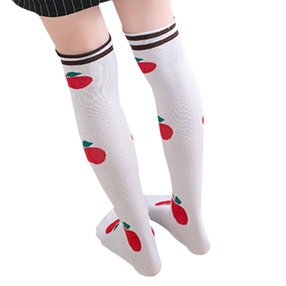 One Pair of Girls Pure Cotton Over Calf Knee High Stockings Animal/Fruits Print Socks