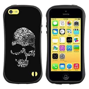 Be-Star Impreso Colorido Diseño Antichoque Caso Del Iface Primera Clase Tpu Carcasa Funda Case Cubierta Par Apple iPhone 5C ( skull dark black death shadow bones )