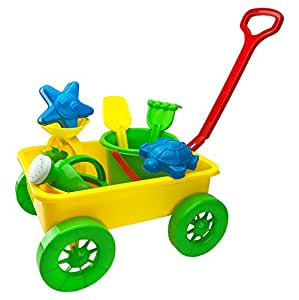 Beach Wagon Pull Along Toy Set for Kids with Sand Wheel, Bucket, Shovel, Rake, Water Pail, Starfish and Turtle Shape Molds