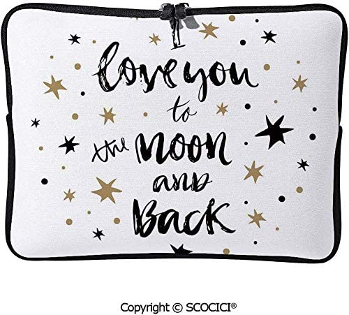 手描きI Love You to the Moon and Back Quote with Stars コンピューターバッグ ラップトップケース 防水 多機能 ウェアラブル ユニセックス 学校 ハンドバッグ 15inch