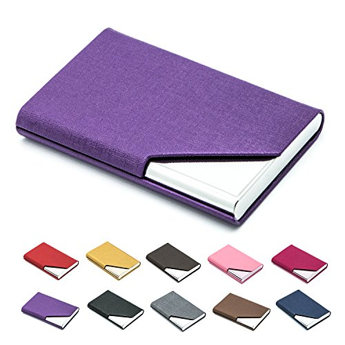 Business Name Card Holder Luxury PU Leather & Stainless Steel Multi Card Case,Business Name Card Holder Wallet Credit card ID Case / Holder For Men & Women - Keep Your Business Cards Clean (Purple)