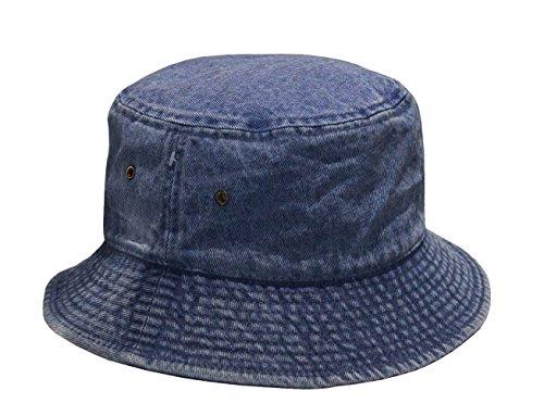 Ladies Dark Blue Denim - Short Brim Visor Cotton Bucket Sun Hat (Small/Medium, Dark Denim)