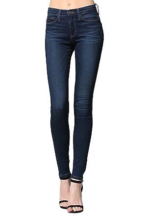 b8287d7ef2f Flying Monkey Tainted Blue Mid Rise Dark Wash Super Soft Skinny Jeans L9237  (24)