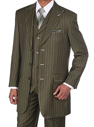 Fortino Landi Pinstripe Design High Fashion Suit with Vest (Olive Pinstripe Suit)