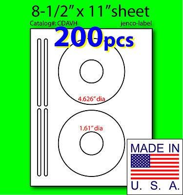 Jenco-Label Cdavh, 200 Half Face Cd/Dvd White Matte Laser Label