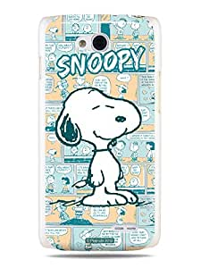 GRÜV Premium Case - 'Peanuts Snoopy Comic Strip' Design - Best Quality Designer Print on White Hard Cover - for LG Optimus L90 W7 D405 D410 D415