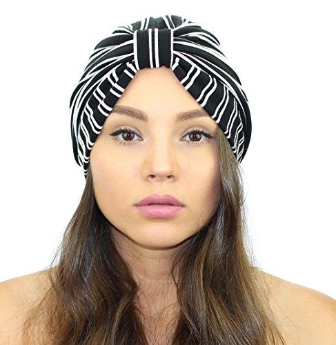 Pinstripe Full Turban (Black/White)
