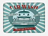 Ambesonne Retro Bath Mat, Vintage Graphic Design for a Car Wash Sign Commercial with Aged Classic Retro Arsty, Plush Bathroom Decor Mat with Non Slip Backing, 29.5 W X 17.5 W Inches, Red Teal