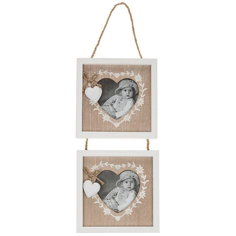 Grey and White Star Heart Shaped Photo Frame Sass and Belle