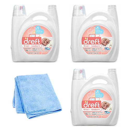 Dreft Baby Laundry Detergent - 150 fl oz, 3-Pack with Cleaning Cloth by Dreft