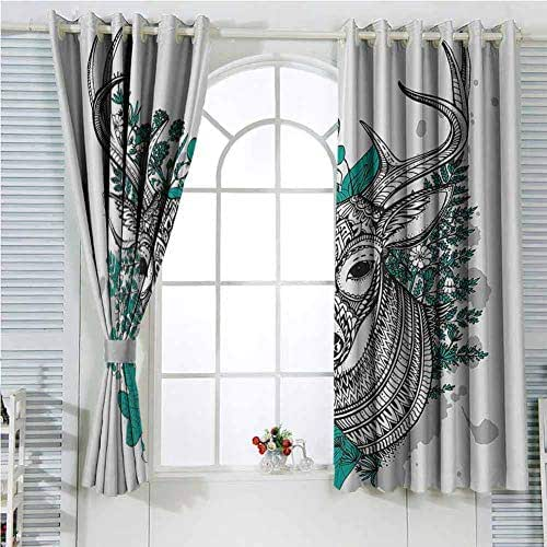 Antlers Decor Collection Light Blocking Curtains for Living Room Horned Deer with High Details Ornament Flowers and Herbs Plants Forest Design Bedroom Curtains Decor W107 x L84 Inch Black White Teal