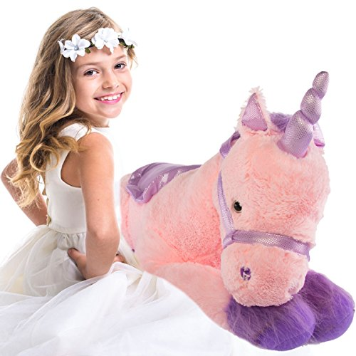Glitzy 39 Jumbo Plush Pink Unicorn Giant Stuffed Animal Toy with Big Fluffy Purple Fur, Large Cute Toy for Kids