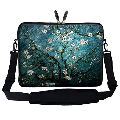 Price comparison product image Meffort Inc 14 14.1 Inch Neoprene Laptop Sleeve Bag Carrying Case with Hidden Handle and Adjustable Shoulder Strap (Vincent Van Gogh Almond Blossom)