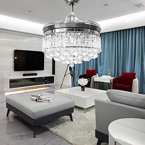 Lighting Groups 42 Inch Crystal Invisible Ceiling Fan with Light, 4 Retractable Blades Fan Chandelier with Remote Control, LED Ceiling Light Fixtures with Fans 3 Colors Changed for Indoor Silver