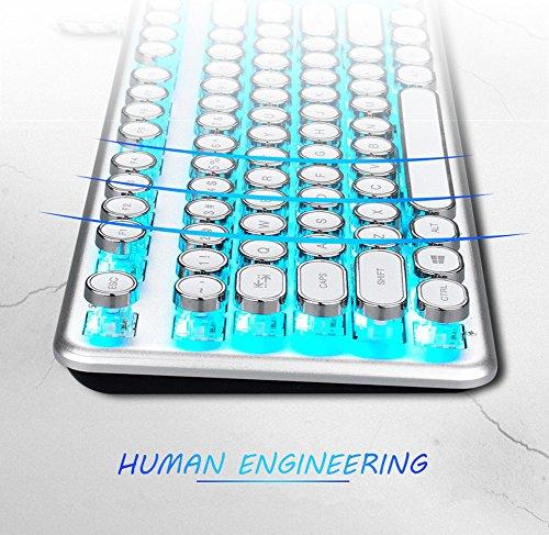 AIURTECHNIC Mechanical Keyboard Black Switch Axis USB Typewriter Retro Steampunk 104keys Keyboard with White LED Backlit… 5