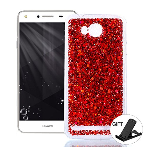 OuDu Huawei Y3 II/Y3 2 Case, Bling Glitter Case TPU Silicone Cover for Huawei Y3 II/Y3 2 Sparkle Style Cover Gel Rubber Shell Flexible Soft Bumper - Red
