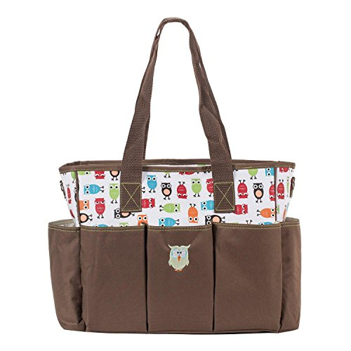 SoHo diaper bag Soren The Owls 7 pieces set nappy tote bag for baby mom dad stylish insulated unisex multifunction large capacity includes changing pad stroller straps bottle case Brown