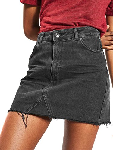 (Joeoy Women's Black Casual High Waist Ripped A-Line Mini Short Denim Skirt-M)