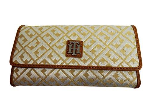 Tommy Hilfiger Women's Continental Checkbook Wallet (White/Gold Big H Logo)