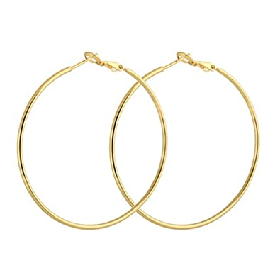 50f602cfd Buy Style Tweak Gold Plated Large Metal Hoop Earrings for Women Online at  Low Prices in India | Amazon Jewellery Store - Amazon.in