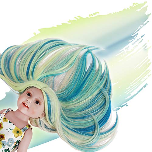 STfantasy Doll Wig for 18 Inches American Girl Doll AG OG Journey Girls Gotz My Life Ombre Blue Green Straight Synthetic Hair Girls Gift